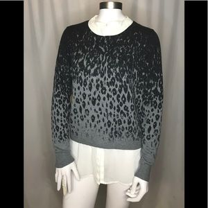 DKNYC layered look leopard pullover sweater